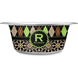 Argyle & Moroccan Mosaic Stainless Steel Pet Bowl (Personalized)