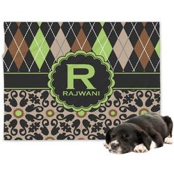 Argyle & Moroccan Mosaic Minky Dog Blanket - Large  (Personalized)