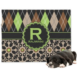 Argyle & Moroccan Mosaic Minky Dog Blanket (Personalized)