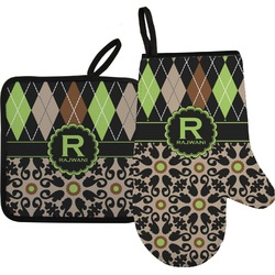 Argyle & Moroccan Mosaic Oven Mitt & Pot Holder (Personalized)