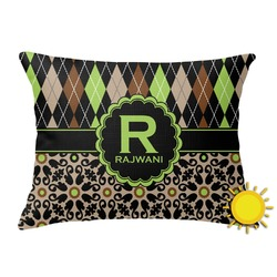 Argyle & Moroccan Mosaic Outdoor Throw Pillow (Rectangular) (Personalized)