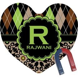 Argyle & Moroccan Mosaic Heart Fridge Magnet (Personalized)