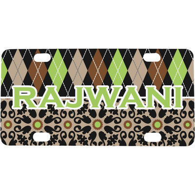 Argyle & Moroccan Mosaic Mini / Bicycle License Plate (Personalized)