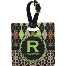 Argyle & Moroccan Mosaic Square Luggage Tag (Personalized)