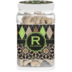 Argyle & Moroccan Mosaic Pet Treat Jar (Personalized)