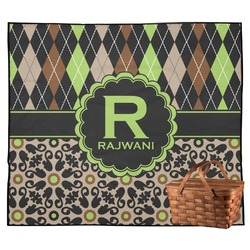 Argyle & Moroccan Mosaic Outdoor Picnic Blanket (Personalized)