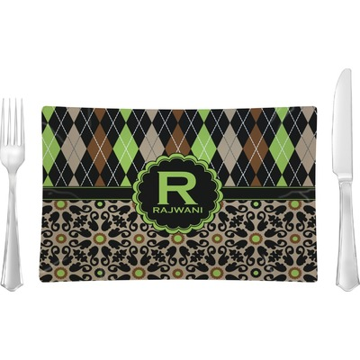 Argyle & Moroccan Mosaic Rectangular Glass Lunch / Dinner Plate - Single or Set (Personalized)