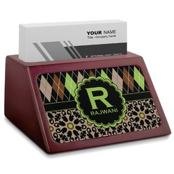 Argyle & Moroccan Mosaic Red Mahogany Business Card Holder (Personalized)