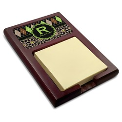Argyle & Moroccan Mosaic Red Mahogany Sticky Note Holder (Personalized)