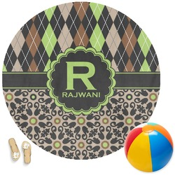 Argyle & Moroccan Mosaic Round Beach Towel (Personalized)
