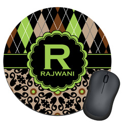 Argyle & Moroccan Mosaic Round Mouse Pad (Personalized)
