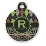Argyle & Moroccan Mosaic Round Pet Tag (Personalized)