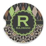 Argyle & Moroccan Mosaic Sandstone Car Coasters (Personalized)