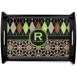 Argyle & Moroccan Mosaic Black Wooden Tray (Personalized)