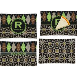 Argyle & Moroccan Mosaic Set of 4 Glass Rectangular Appetizer / Dessert Plate (Personalized)