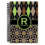 Argyle & Moroccan Mosaic Spiral Bound Notebook (Personalized)