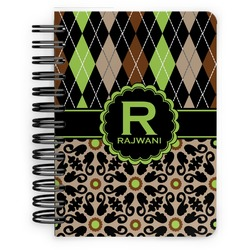 Argyle & Moroccan Mosaic Spiral Bound Notebook - 5x7 (Personalized)