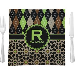 """Argyle & Moroccan Mosaic 9.5"""" Glass Square Lunch / Dinner Plate- Single or Set of 4 (Personalized)"""