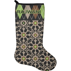 Argyle & Moroccan Mosaic Christmas Stocking - Neoprene (Personalized)