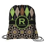 Argyle & Moroccan Mosaic Drawstring Backpack (Personalized)