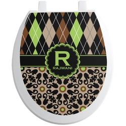 Argyle & Moroccan Mosaic Toilet Seat Decal (Personalized)
