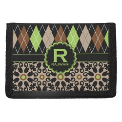 Argyle & Moroccan Mosaic Trifold Wallet (Personalized)