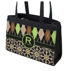 Argyle & Moroccan Mosaic Zippered Everyday Tote (Personalized)