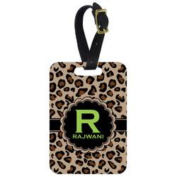 Granite Leopard Metal Luggage Tag w/ Name and Initial