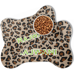 Granite Leopard Bone Shaped Dog Food Mat (Personalized)