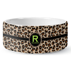 Granite Leopard Ceramic Dog Bowl (Personalized)