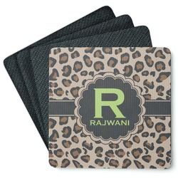 Granite Leopard 4 Square Coasters - Rubber Backed (Personalized)