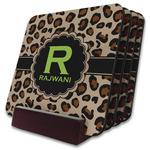 Granite Leopard Coaster Set w/ Stand (Personalized)