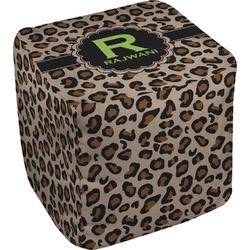 """Granite Leopard Cube Pouf Ottoman - 18"""" (Personalized)"""