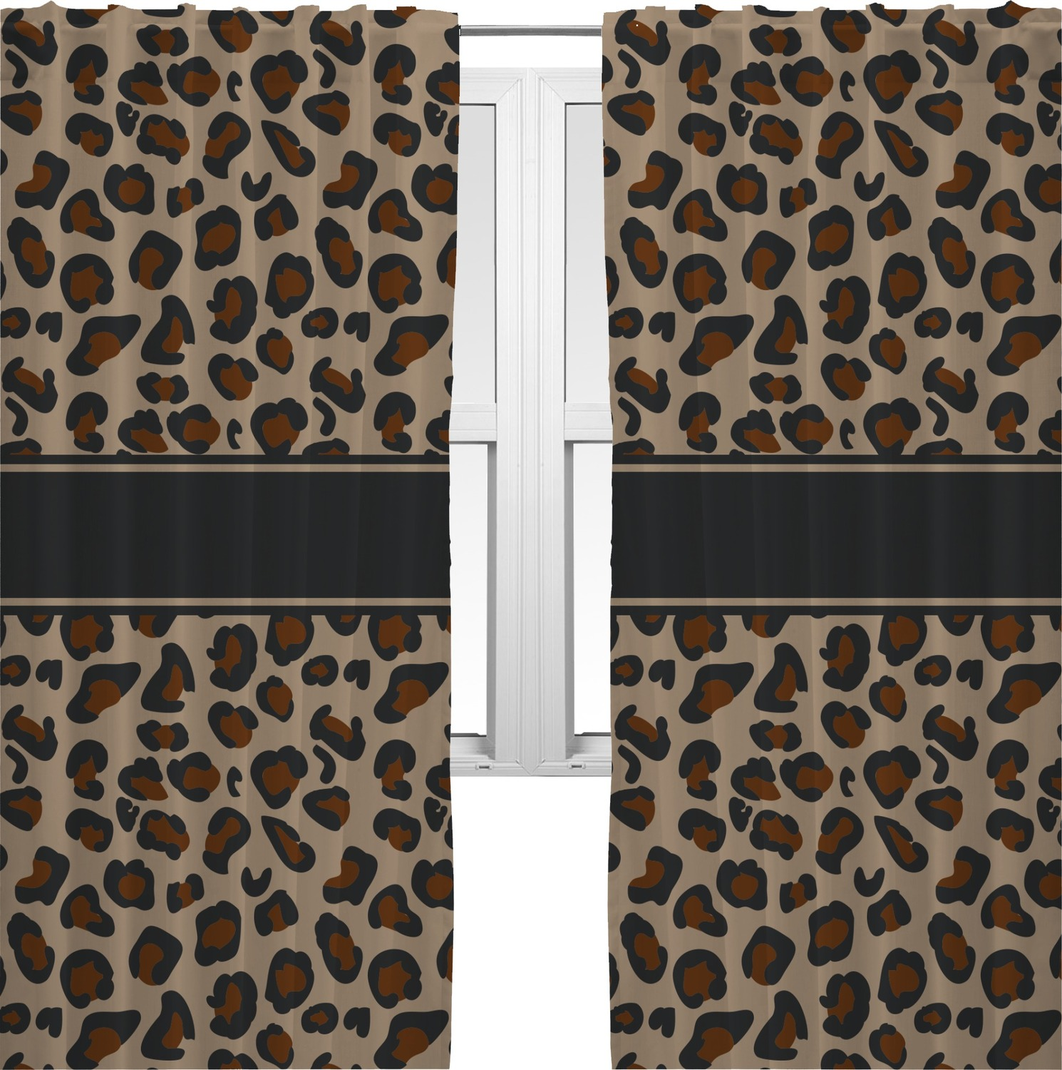 Granite leopard curtains 20 x84 panels lined 2 for Animal print window treatments