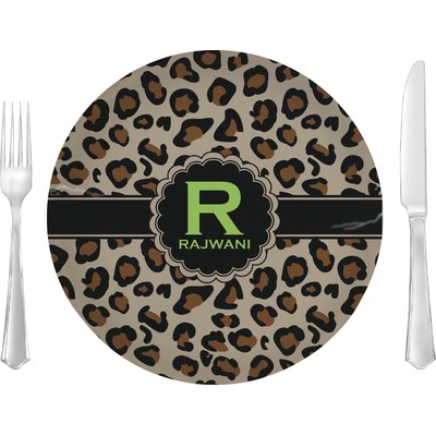 """Granite Leopard 10"""" Glass Lunch / Dinner Plates - Single or Set (Personalized)"""