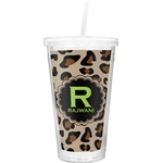 Granite Leopard Double Wall Tumbler with Straw (Personalized)