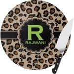 Granite Leopard Round Glass Cutting Board (Personalized)