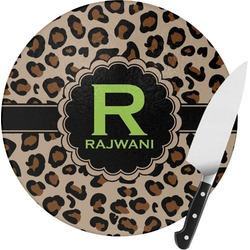 Granite Leopard Round Glass Cutting Board (Personalized)