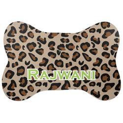 Granite Leopard Bone Shaped Dog Food Mat (Large) (Personalized)