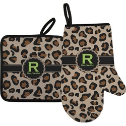 Granite Leopard Right Oven Mitt & Pot Holder Set w/ Name and Initial
