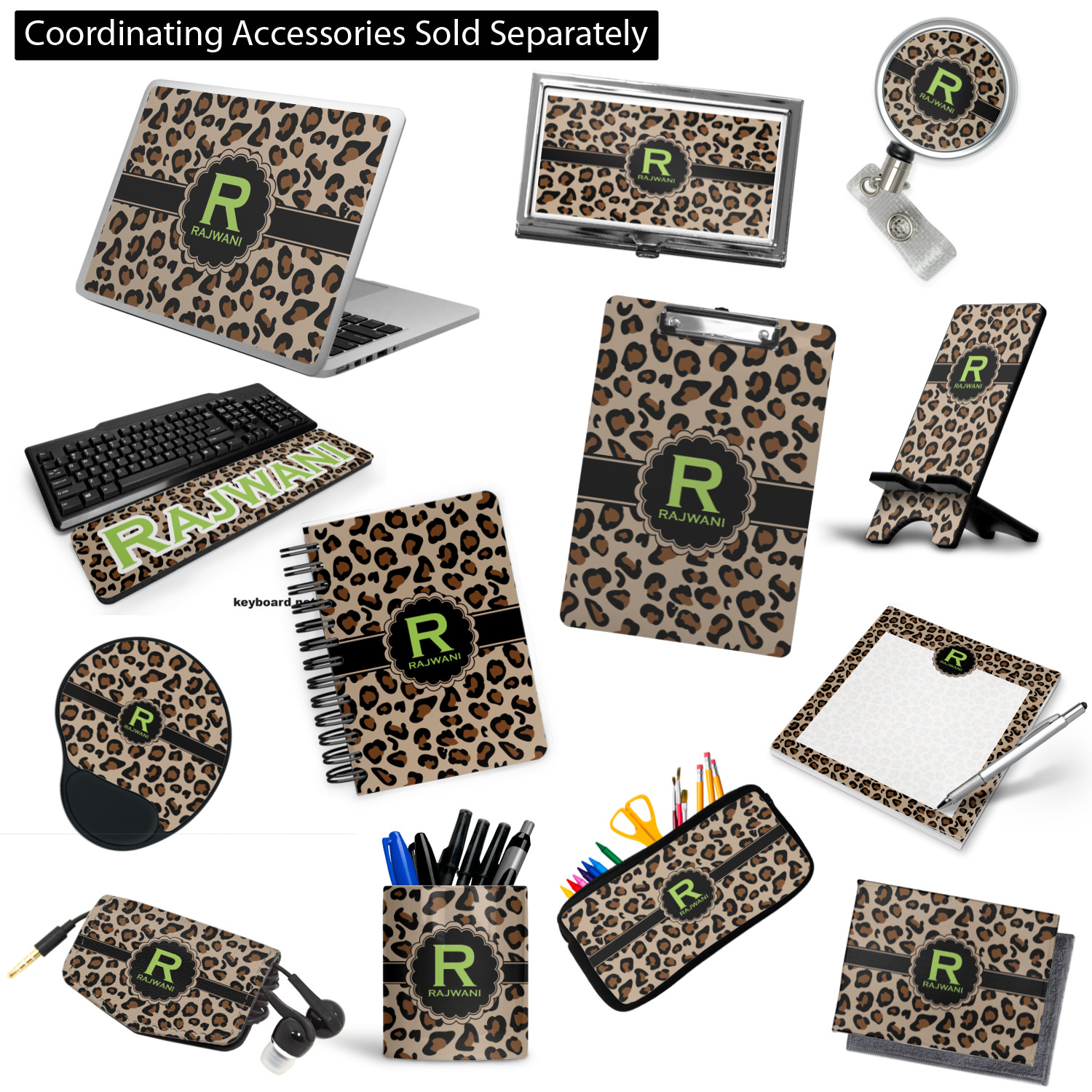 Granite Leopard 3 Ring Binder Personalized