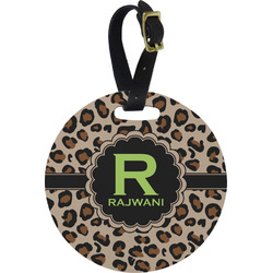 Granite Leopard Plastic Luggage Tag - Round (Personalized)