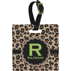 Granite Leopard Plastic Luggage Tag - Square w/ Name and Initial