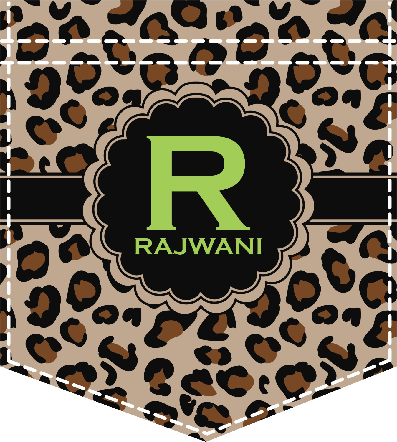 Granite Leopard Iron On Faux Pocket Personalized