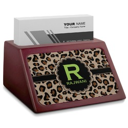 Granite Leopard Red Mahogany Business Card Holder (Personalized)