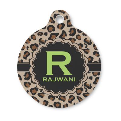 Granite Leopard Round Pet ID Tag (Personalized)