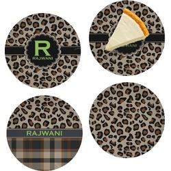 "Granite Leopard Set of 4 Glass Appetizer / Dessert Plate 8"" (Personalized)"