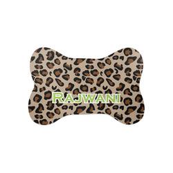 Granite Leopard Bone Shaped Dog Food Mat (Small) (Personalized)