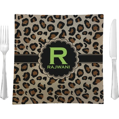 """Granite Leopard 9.5"""" Glass Square Lunch / Dinner Plate- Single or Set of 4 (Personalized)"""