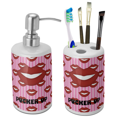 Lips (Pucker Up) Bathroom Accessories Set (Ceramic)